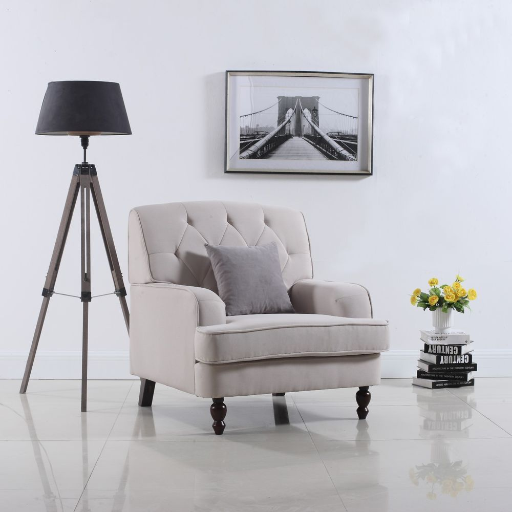 Best Modern Tufted Fabric Living Room Armchair In Beige 400 x 300