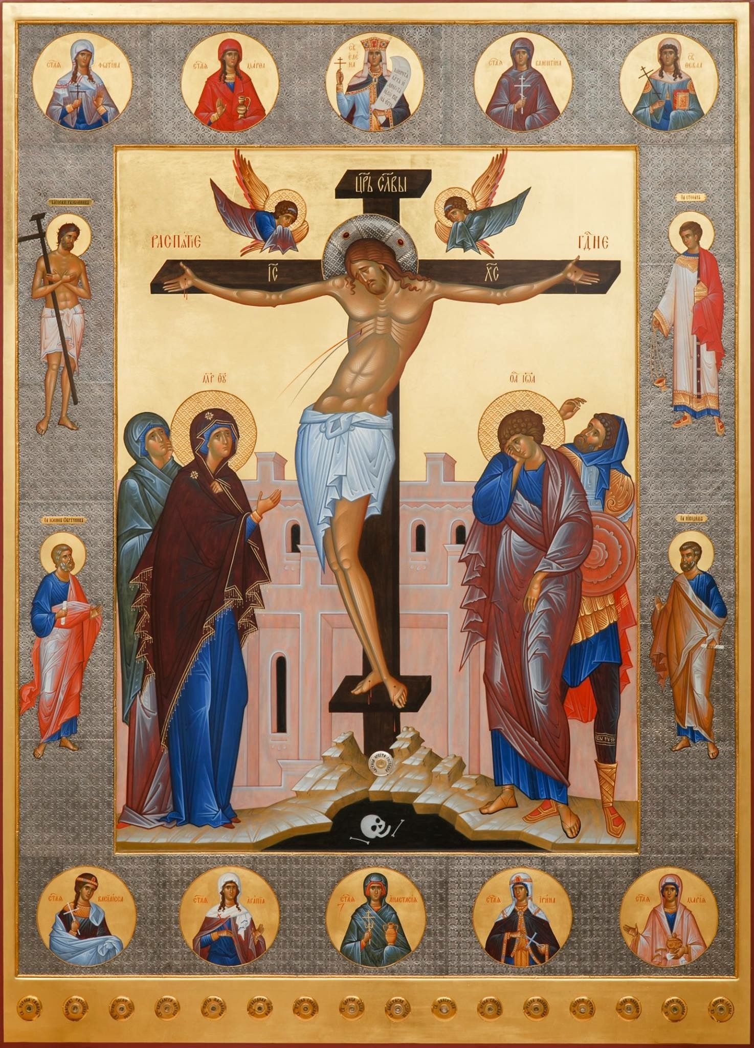 a new icon of the crucifixion of our lord jesus christ with saints