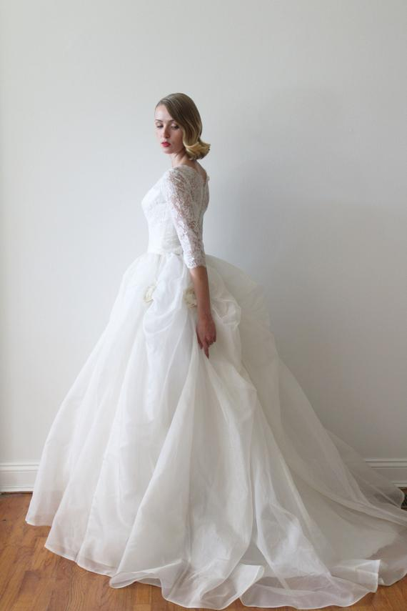 21783c60c9f Vintage 1950s Lace and Silk Organza Wedding Dress with Rose Details ...