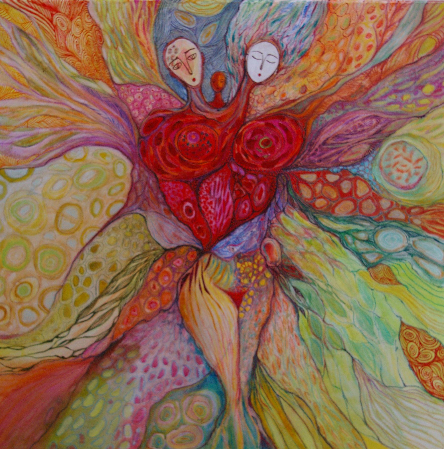 Pastel gras, acrylique, encre sur toile 100/100cm. L'énergie de l'Amour. Artiste Patricia Mouton.