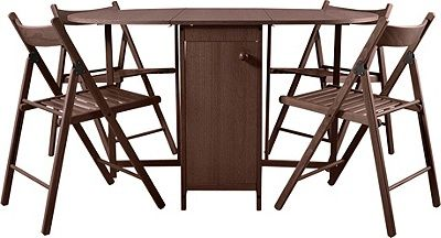 Buy HOME Butterfly Oval Dining Table and 4 Chairs Chocolate at