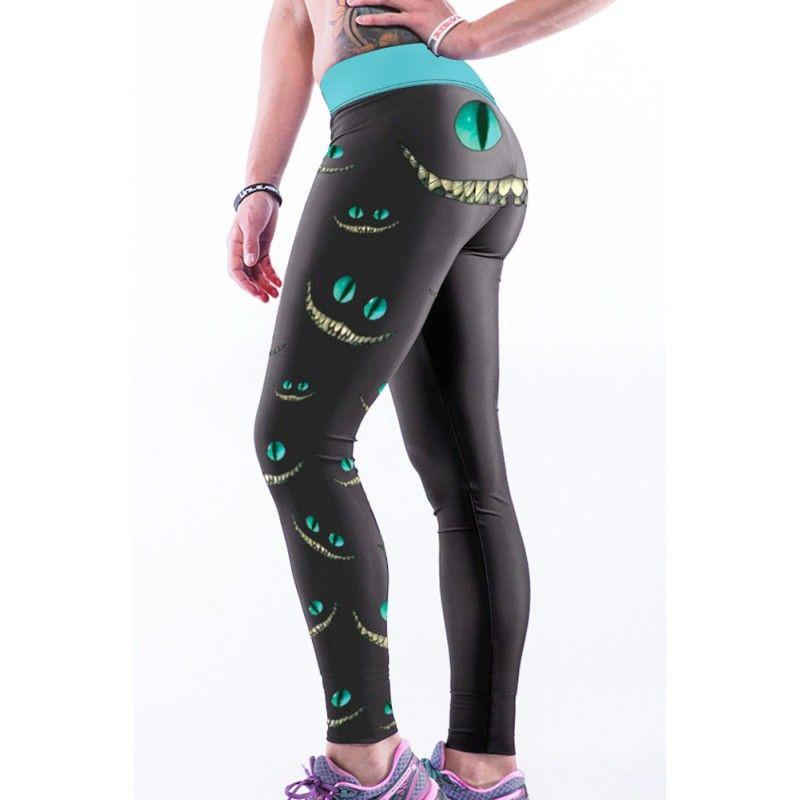 e468266f81a4a Alice in Wonderland Cheshire Cat Smile Women's Leggings Yoga Workout Capri  Pants