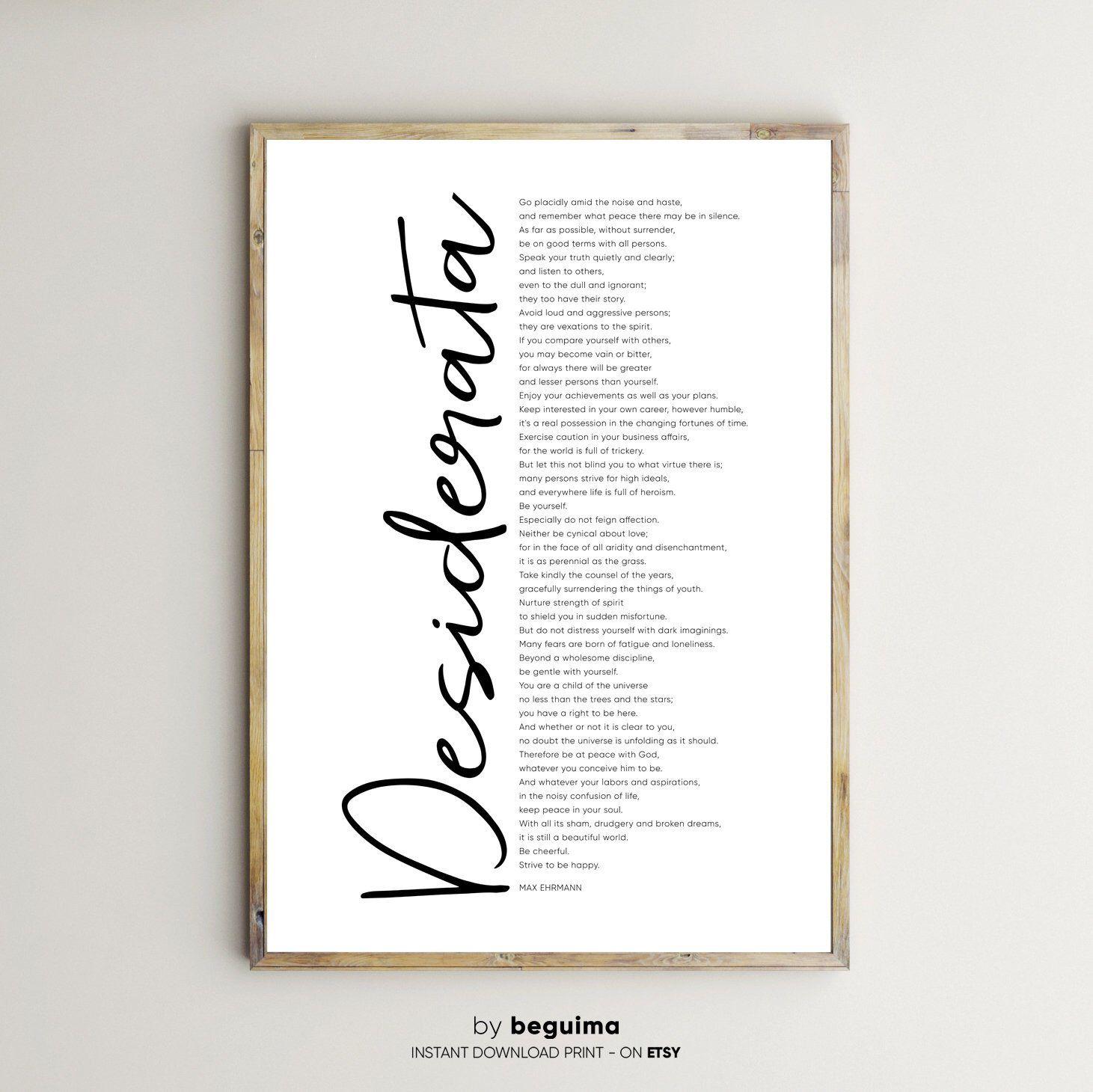 Desiderata Printsmax Ehrmann Poemprintable Wall Etsy Desiderata Max Ehrmann Inspirational Words