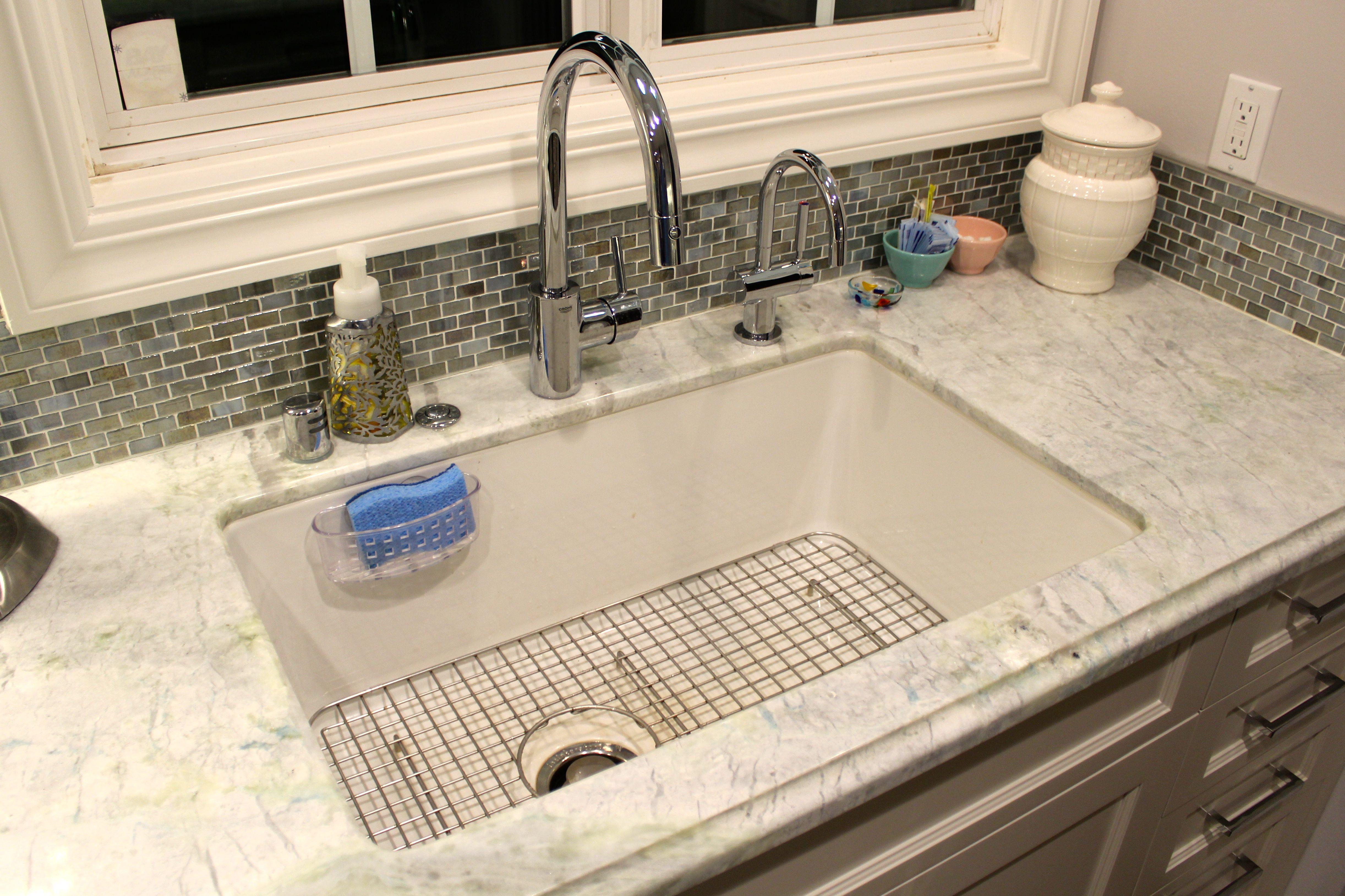 Rohl Allia white fireclay undermount single bowl sink and Rohl