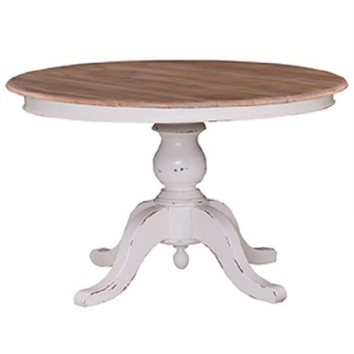 Farmhouse 60 Round Pedestal Dining Table French Country White With