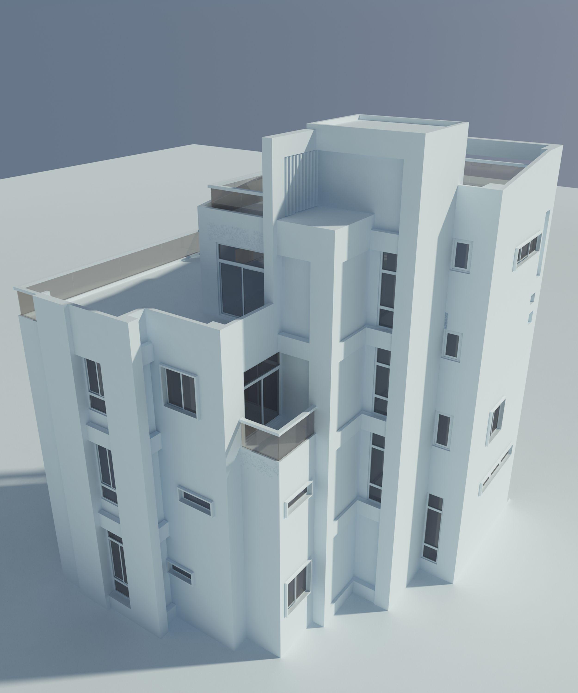 台中豐原五汴段 住宅設計 3D 背面俯視