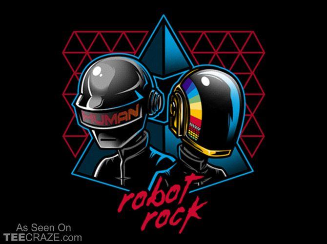 Robot Rock T-Shirt Designed by Bamboota    Source: http://teecraze.com/robot-rock-t-shirt/