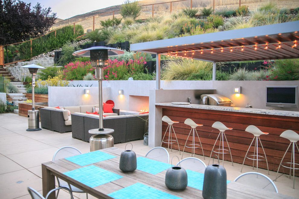modern outdoor bbq patio contemporary with stucco walls outdoor kitchen natural planting on outdoor kitchen natural id=49579