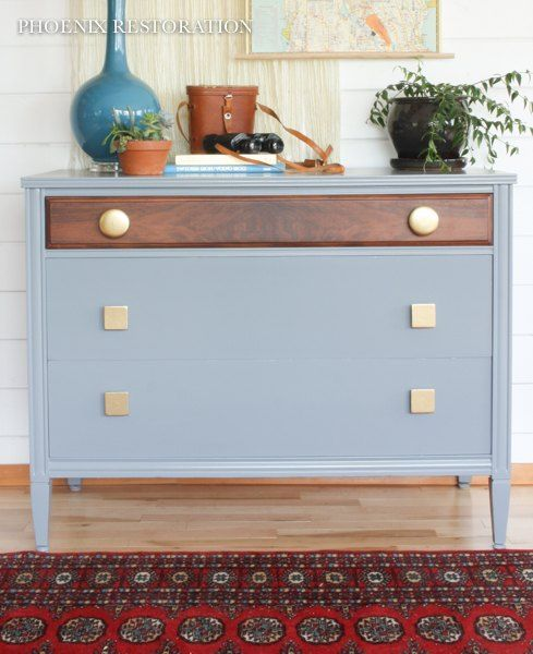 Eclectic Gray Walnut & Gold Dresser