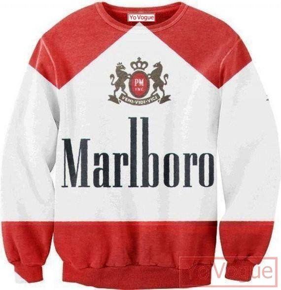 Stock Clearance! Marlboro sweatshirt top, front & Back 3D