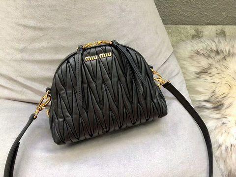 2018 Miu Miu Matelasse Leather Shoulder Bag 5BH092 in Black  5BH092E  -  £219.00 7366fa7eda9bb
