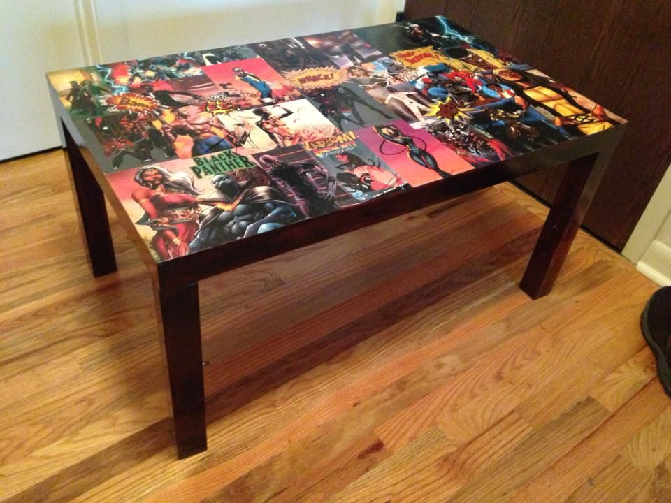 my diy comic book decoupaged and refinished coffee table