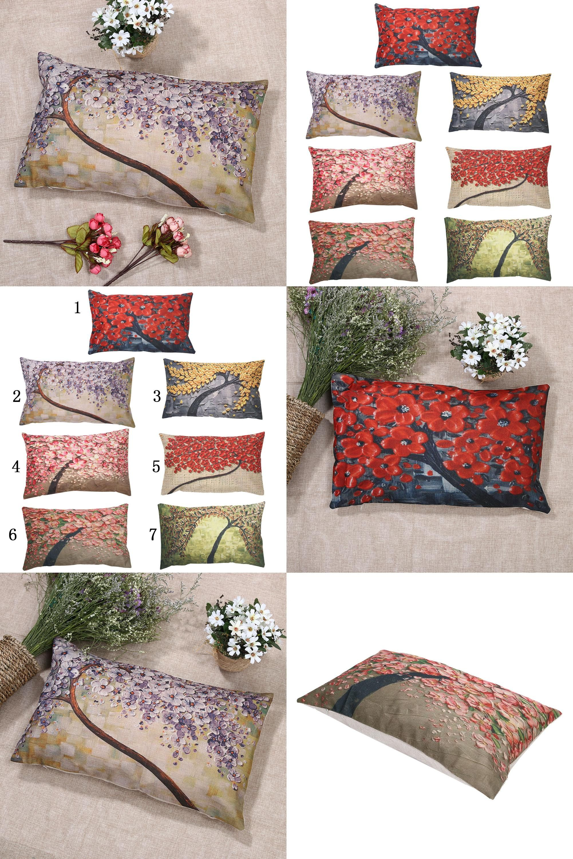 Visit to Buy] Luxury Flower Tree Print Cushion Cover Pillowcase
