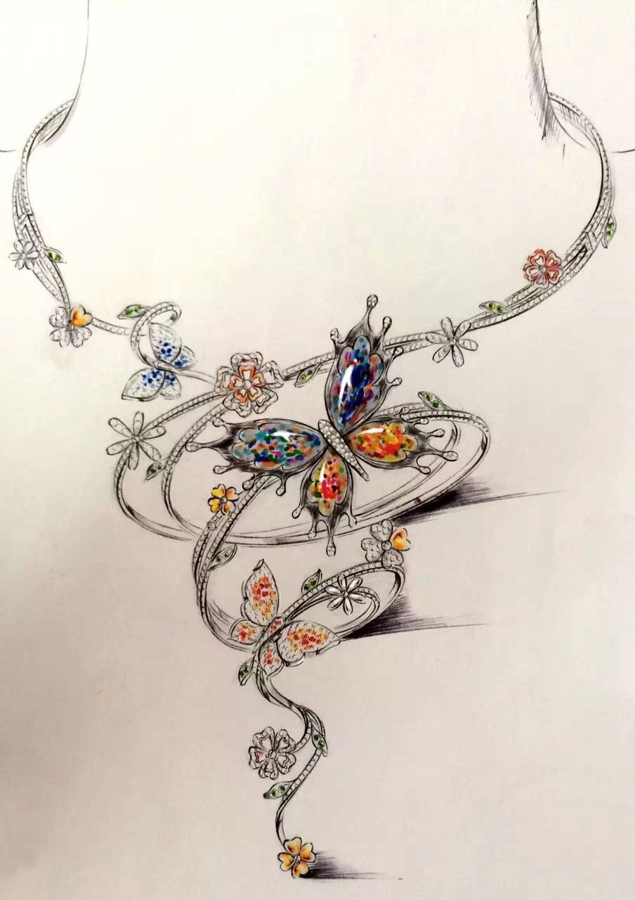 Collier création | Jewelry sketch | Bridal jewelry vintage ...