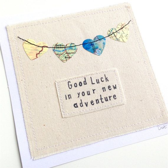 Travel Bunting Machine Stitched Paper Hearts Greeting Card