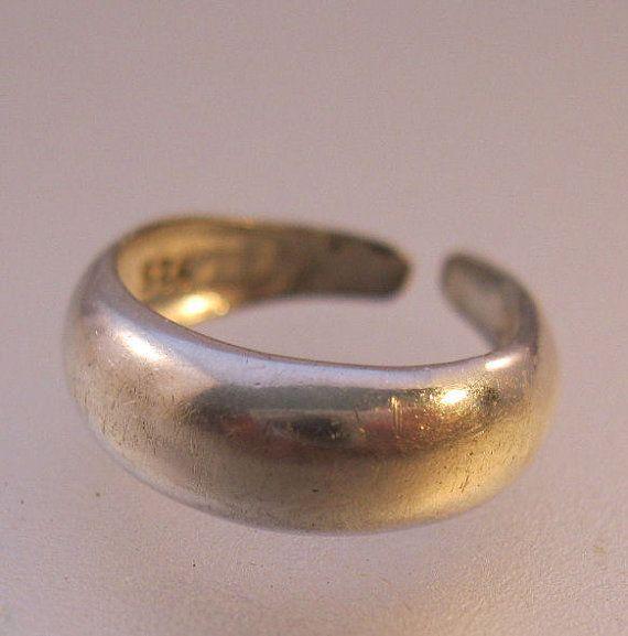 Sterling Silver Band Toe Ring Adjustable by BrightEyesTreasures