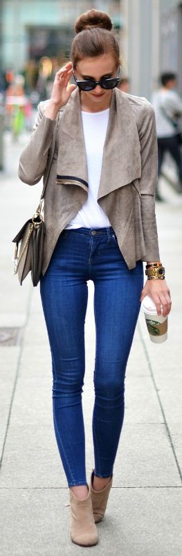 Barbora Ondrackova + super cute casual style + denim skinny jeans + gorgeous suede jacket + zip detailing + Suede boots + perfect match + shades + must-have finish + spring look!  Jacket: Zara, Shirt: Acne, Jeans: Topshop, Boots: Asos, Bag: Chloé.
