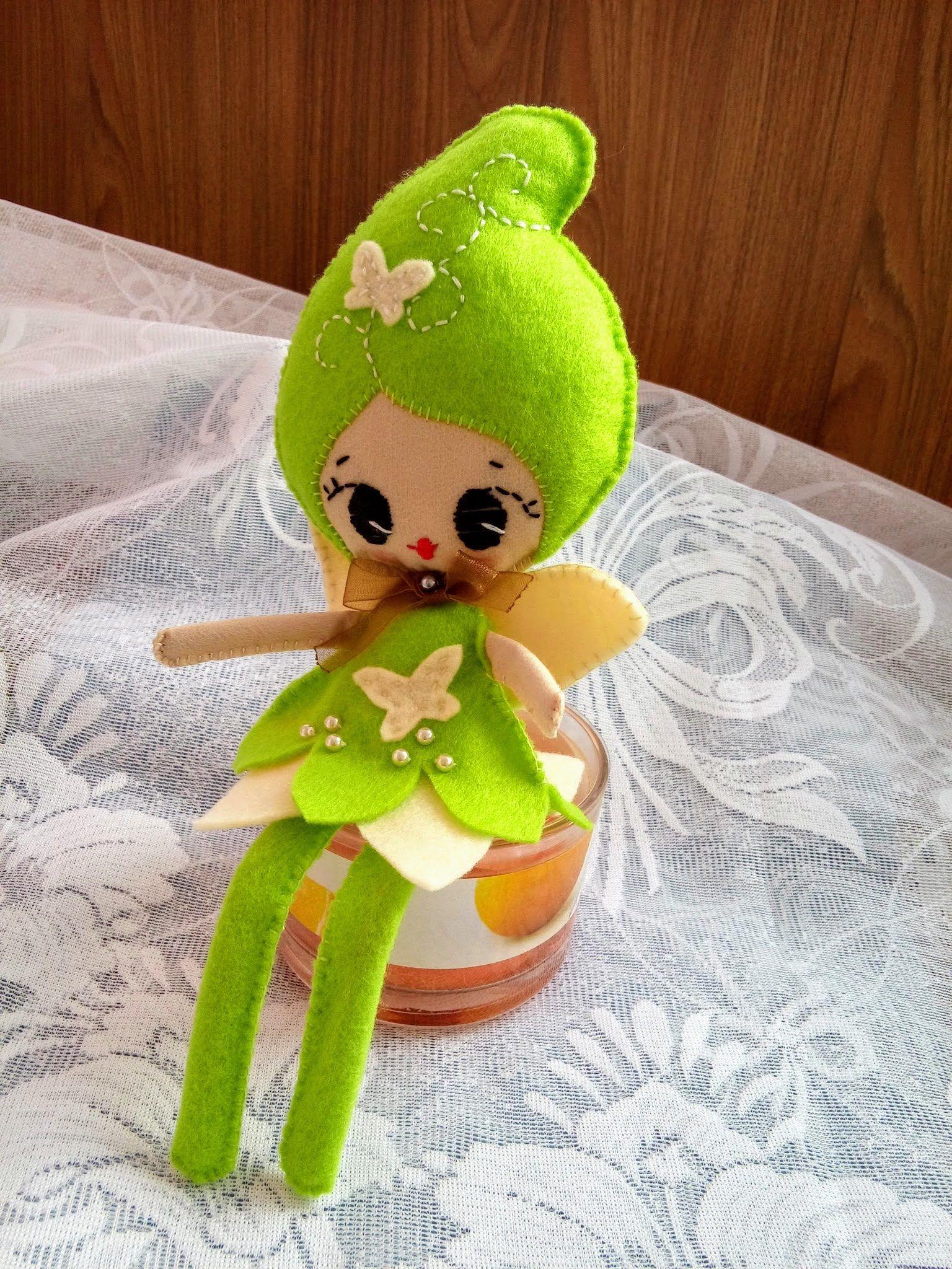 woodland Small soft doll Noialand Fairy butterfly Textile fabric doll Interior doll gift girl Fairy felt decorative doll