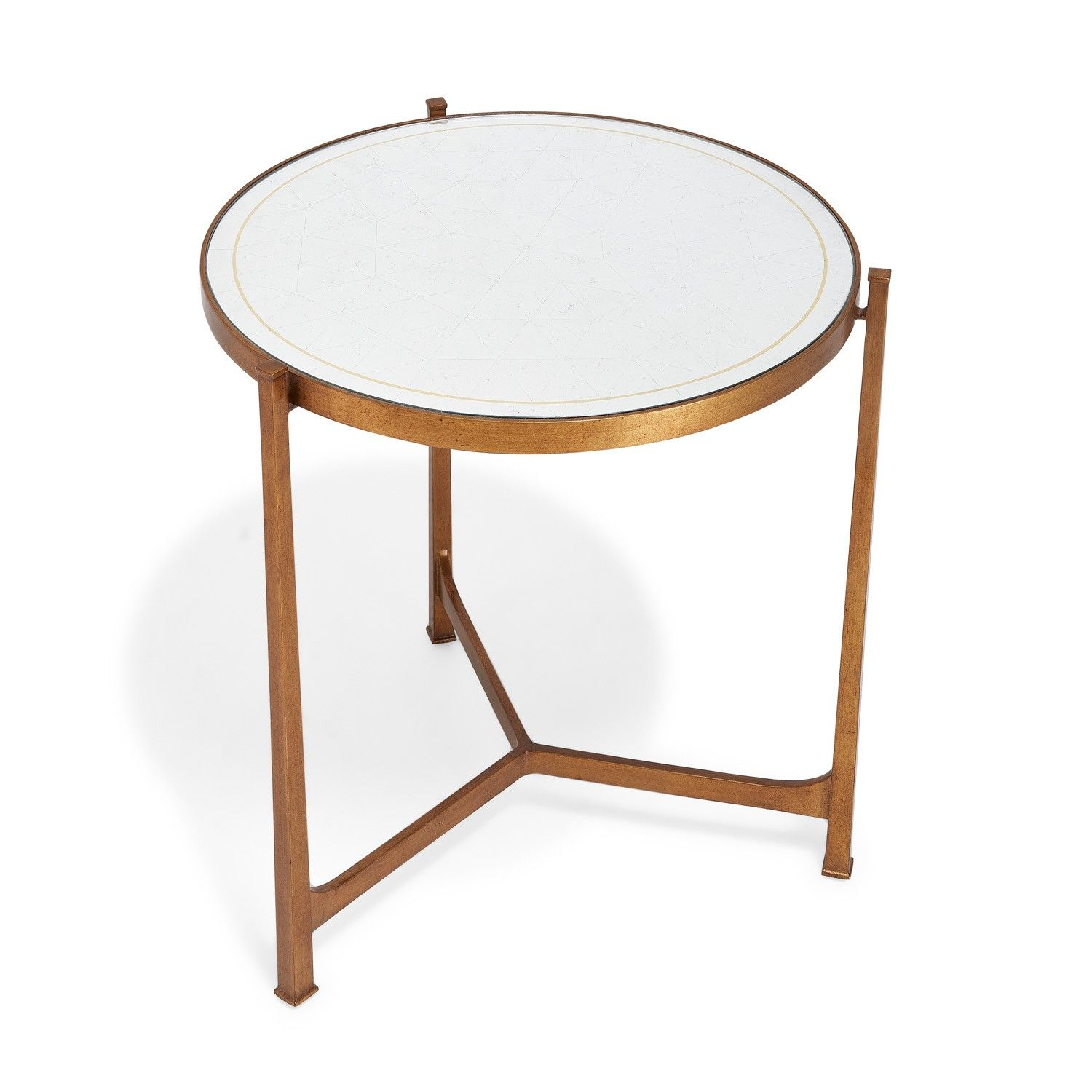 With a warm antique aesthetic the distressed églomisé glass top is