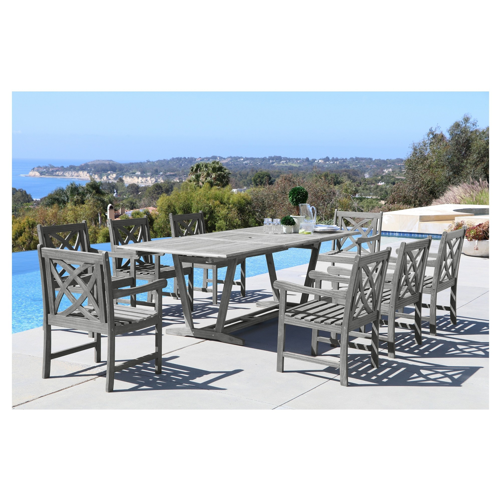 vifah renaissance 9pc outdoor hand scraped hardwood dining set with