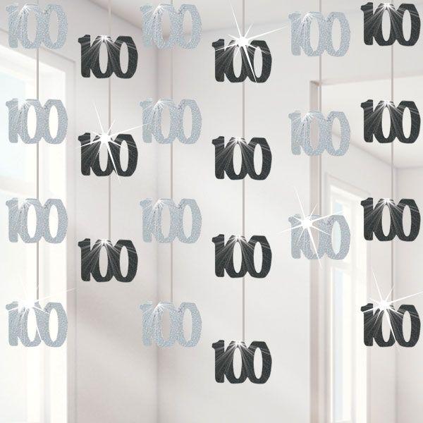 100th Birthday Black Hanging Decorations