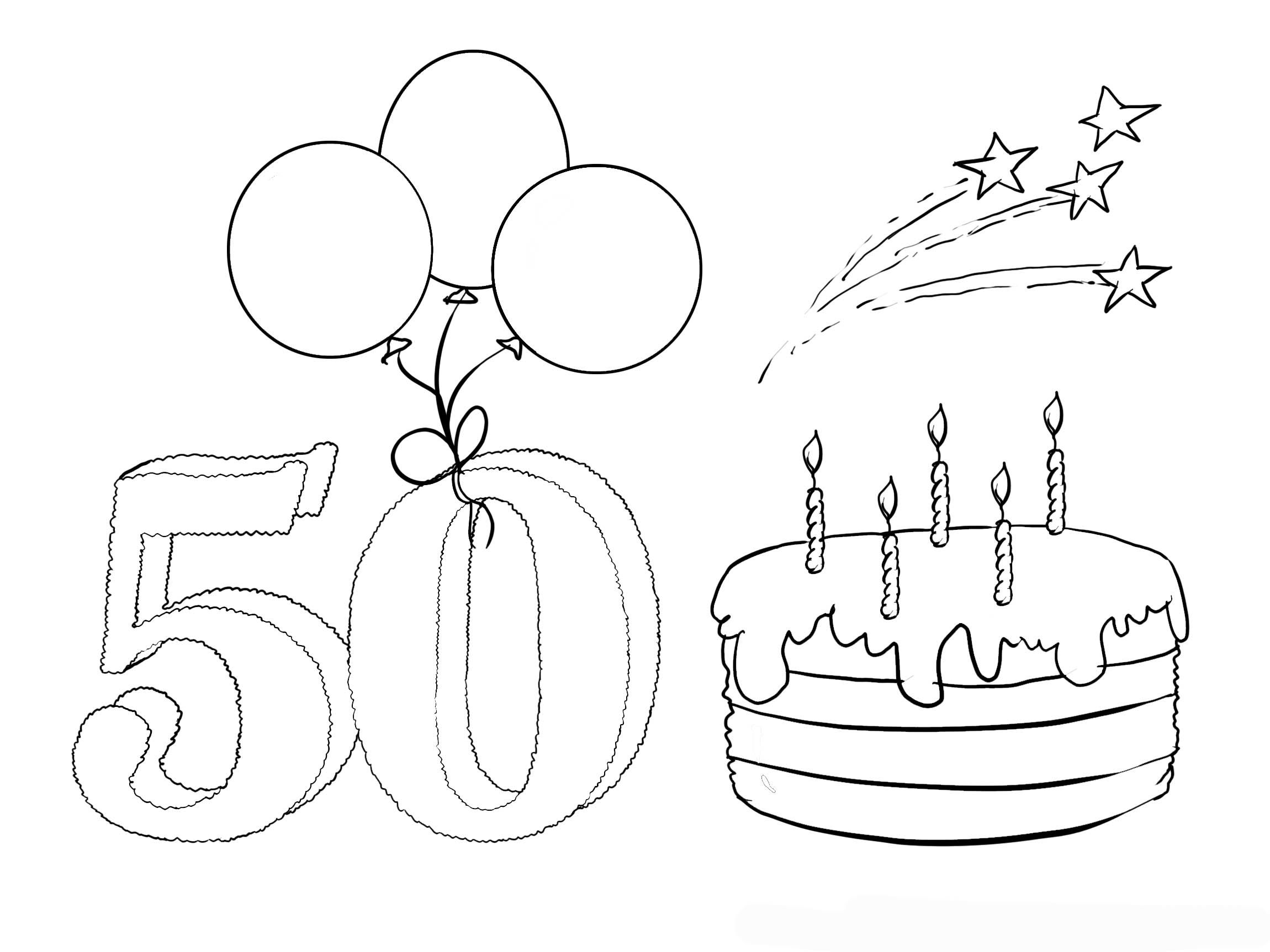Coloring Pages 50Th Birthday