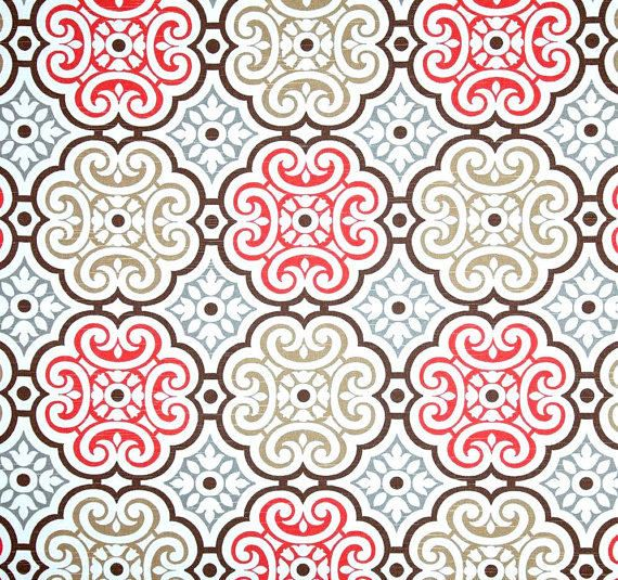 Coral Grey U0026 Brown Mosaic Fabric By The Yard, Designer Home Decor Fabric,  Coral
