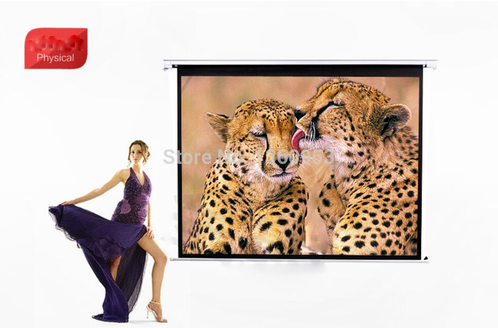 $260.00 (Buy here: http://appdeal.ru/dtsj ) 4:3 100inch Wall Mounted Motorized Matt White HD Projection Screen with remote for just $260.00