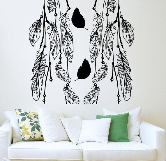 Feathers Wall Decal Mandala Tribal Indian Design Decals For Walls Dream  Catcher Vinyl Sticker Bedroom Window Part 68