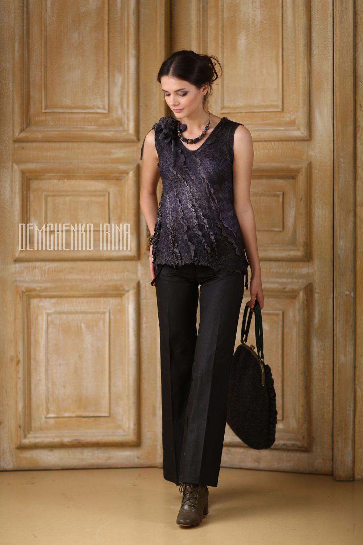 Купить Валяный топ «Style» - авторская работа, ирина демченко, ручная работа, женственость, прогулка
