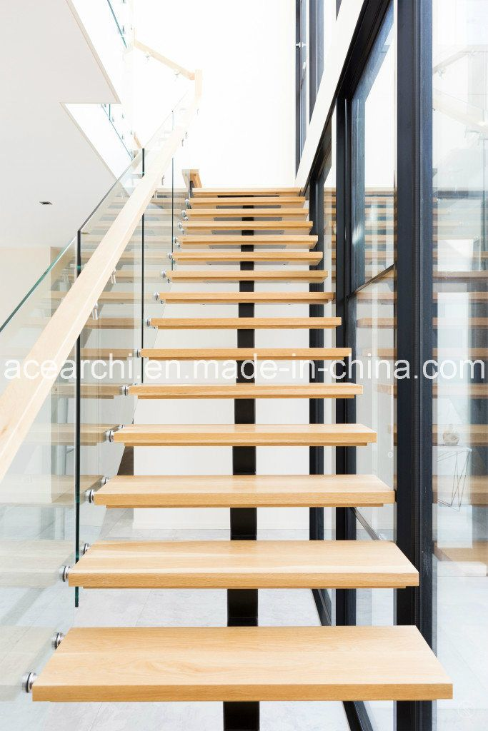 Best Modern Single Beam Straight Staircase Steel Stair With 400 x 300
