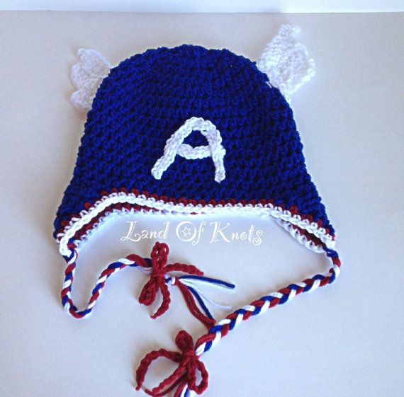 crochet captain america hat , avengers inspired crochet hat, red, white, blue hats for boys, girls, baby, toddler, adult. on Etsy, $15.00