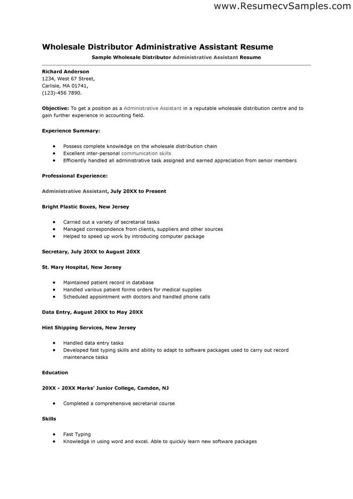 resume cover letter samples administrative Administrative - Sample Of Resume For Job Application