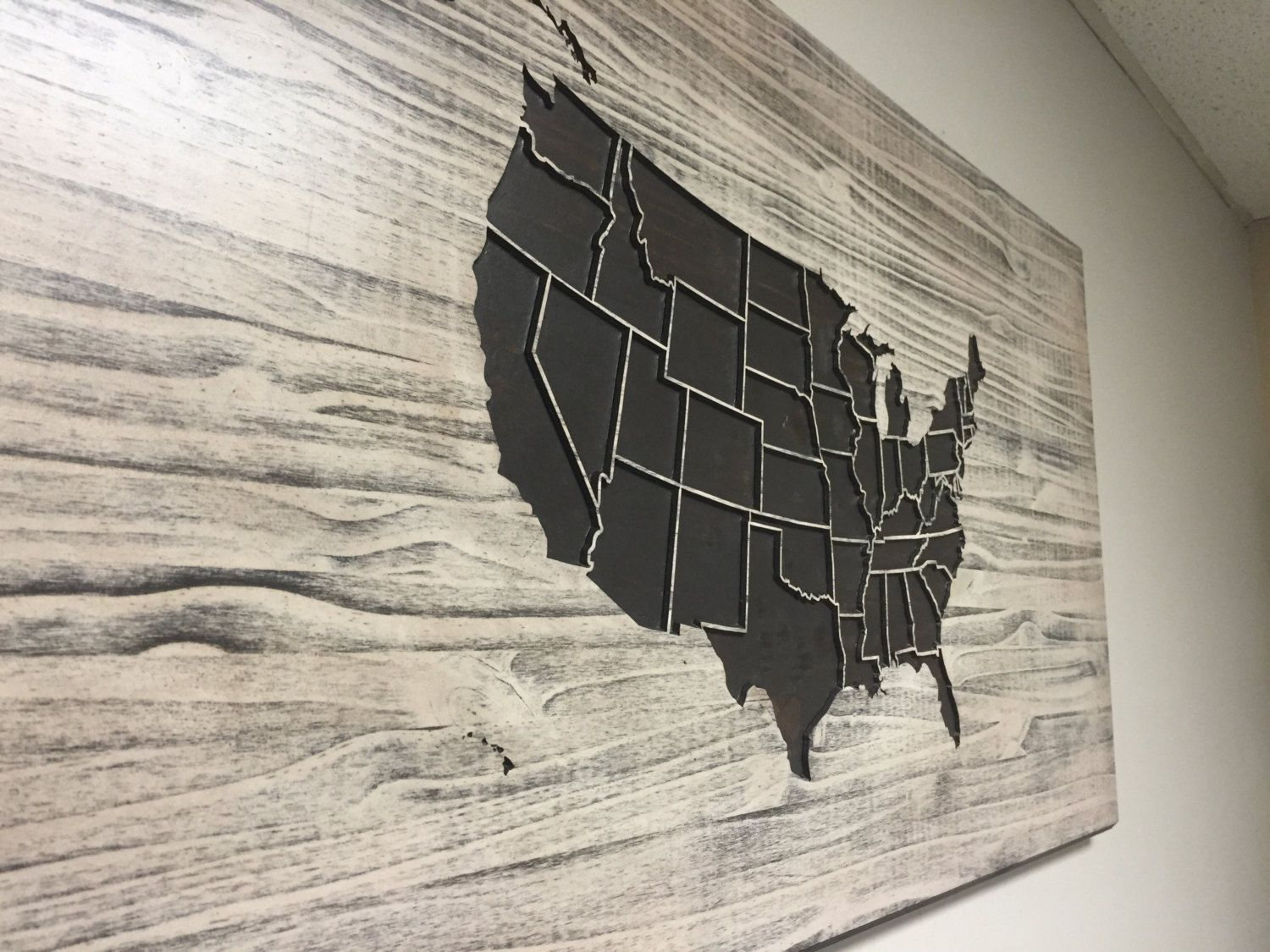 Wooden US Map Wall Art Wood Carved United States Map With States - Us map wall art