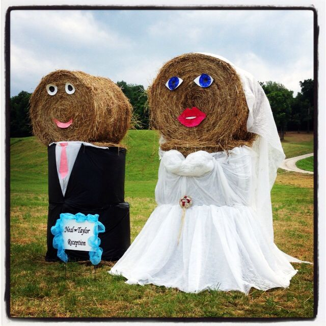 Bride And Groom Hay Bales At The Entrance To The Wedding