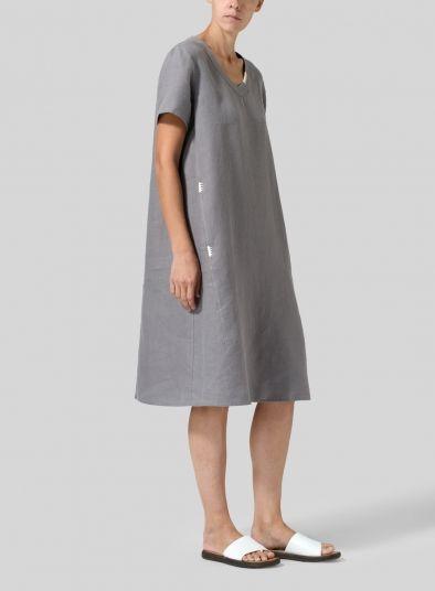 a760febf51d Heavy Linen Short-Sleeve Heart-Neck Dress