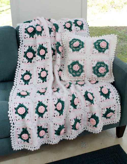 Pearly Blossoms Afghan and Pillow Crochet Pattern | Adornos