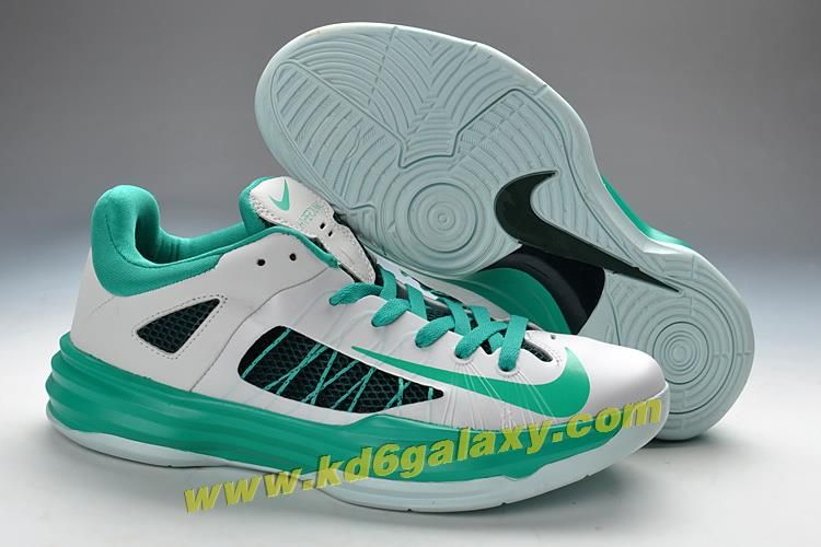 new style b1676 11d4b Mens Nike Hyperdunk Low Basketball Shoes White Green 554671-100