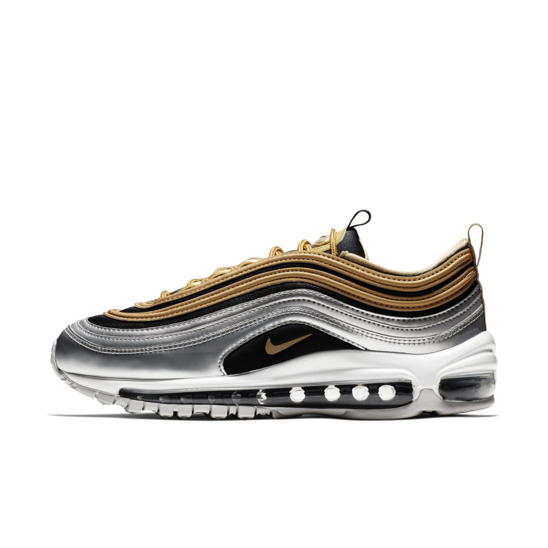 Nike Air Max 97 Metallic Silver Metallic Gold AQ4137 700 Women's Men's Footwear Running Shoe