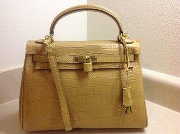 Hermes Kelly 32cm Crocodile Stripe Golde Light Coffee Tote Bag $9,950
