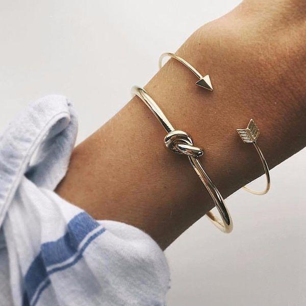 Photo of 2 Pcs/Set Gothic Punk Women Arrow Bangle Cuff Bracelets Jewelry Ladies Open Adjustable Bracelet  Jewelry Valentine Gift(Color:Gold) | Wish