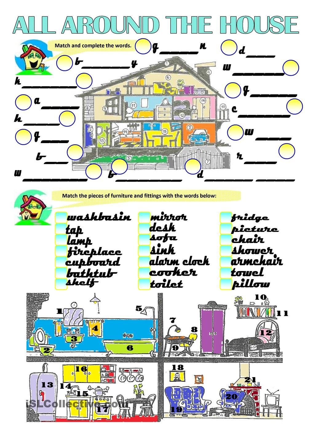 Bedroom furniture names in english - With This Students Can Practise House And Furniture Related Words The First Task Is About Parts Of The House Labelling Matching Activity The Second