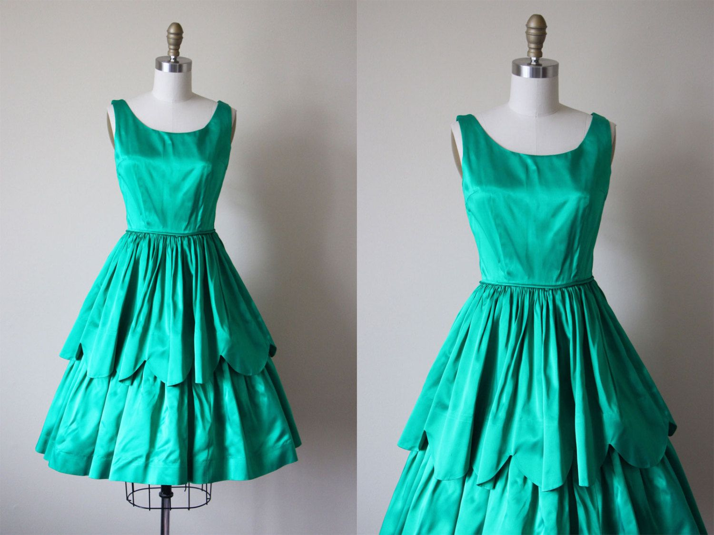 50s Dress - Vintage 1950s Party Dress - Emerald Green Satin ...