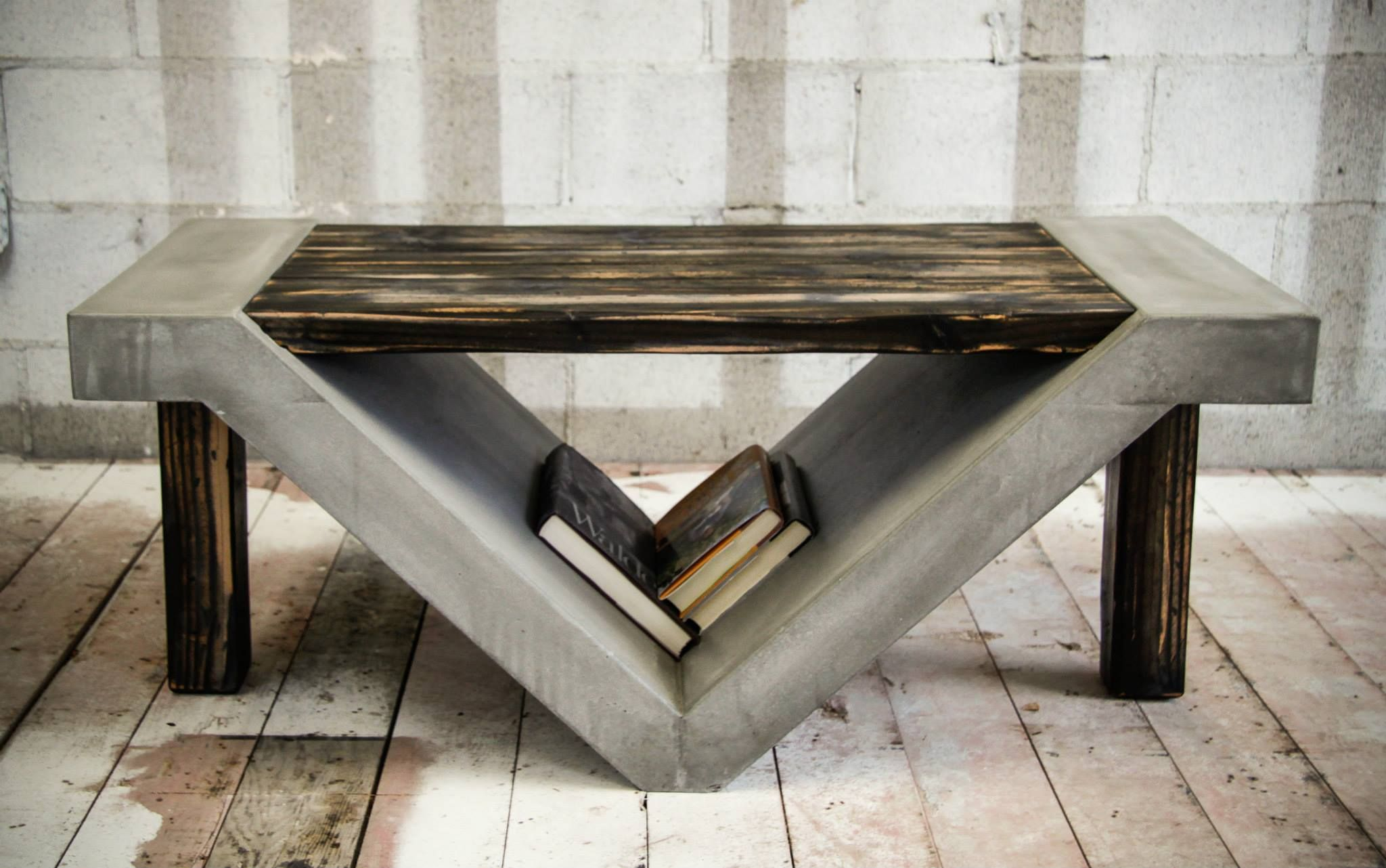 The slanted storage space beneath this table is perfect