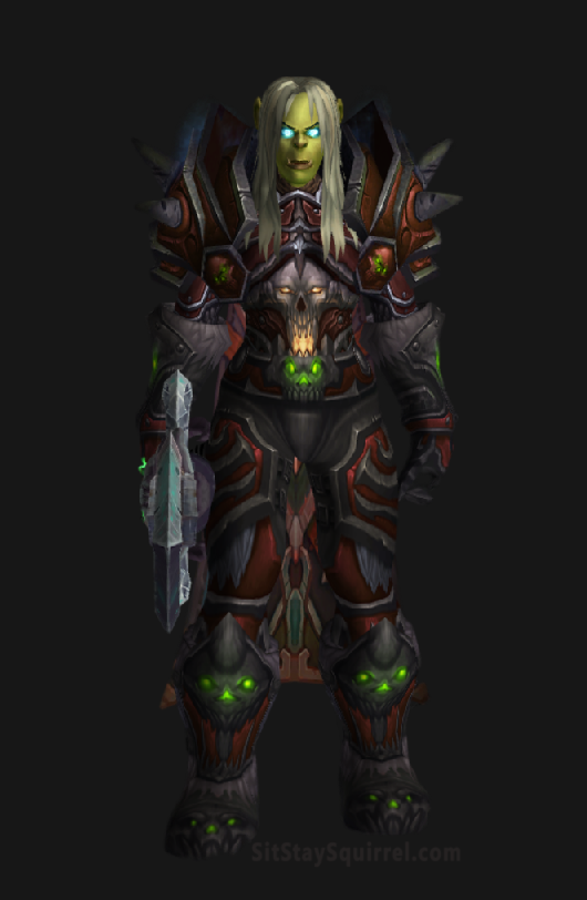 Unholy Death Knight Apocalypse Transmog Set - Default Skin with Red Tint Transmog. World of Warcraft Legion.