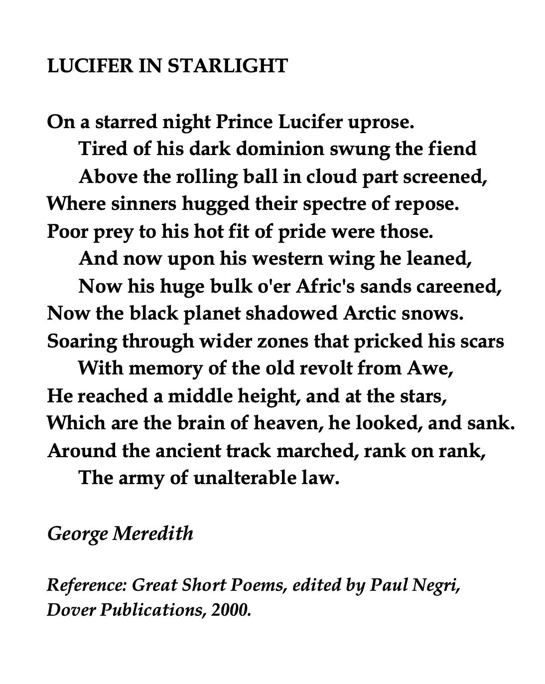 George Meredith English Novelist Short Poem Lucifer Composed Upon Westminster Bridge September 3 1802 By William Wordsworth Summary