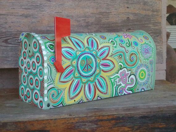 Fun Funky Painted Mailbox | Painted mailboxes, Mailbox ...  Funky Painted Mailboxes