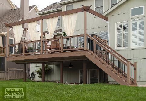 Evergrain Deck With Aluminum Under Deck Guttering System Under Deck Ceiling And Cedar Arbor Rail In Ov Under Deck Ceiling Composite Deck Building Under Decks