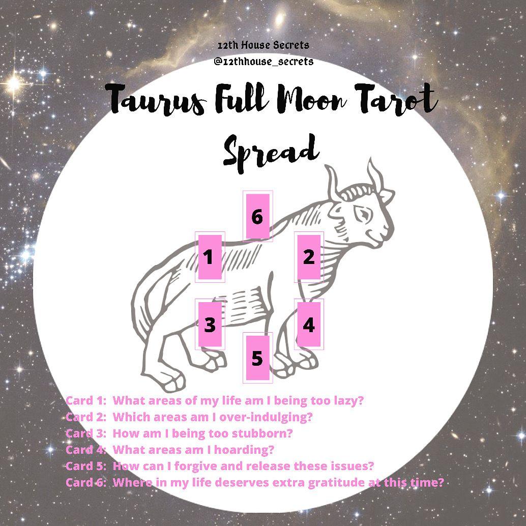Taurus Full Moon Tarot Spread #fullmoontarotspread