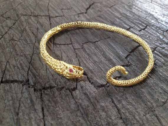 Gold plated silver snake bangle with pink by MetalStudioThailand,